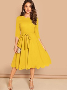 Scallop Trim Fit & Flare Dress