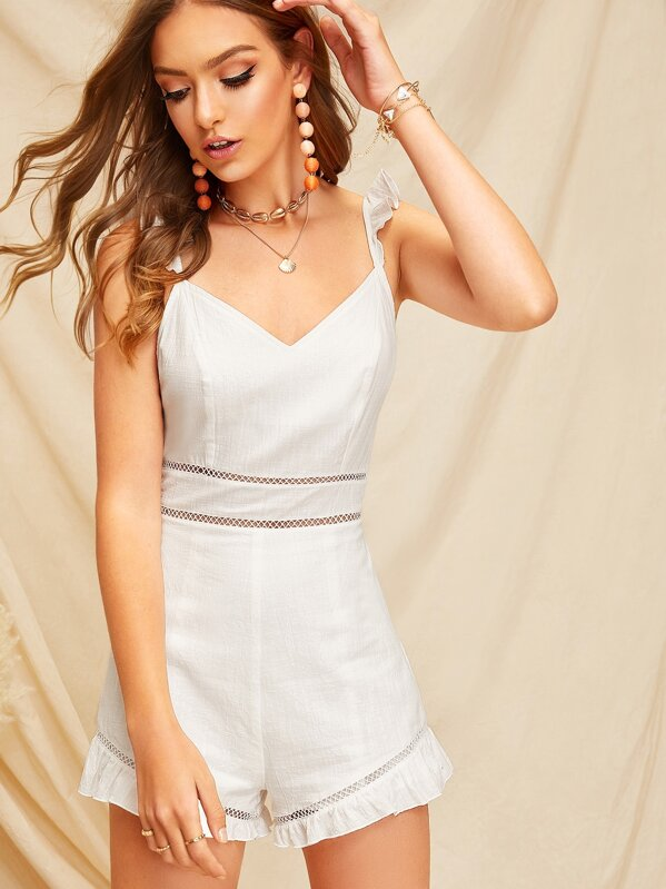 f6130803cc8eb Shoptagr   Lace Insert Ruffle Detail Cami Jumpsuit by Shein