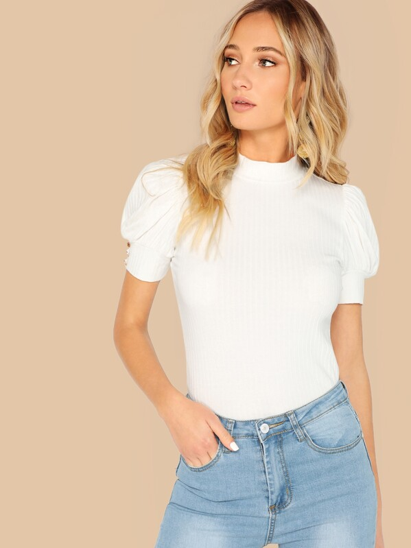 luxury first look save off Mock-neck Buttoned Puff Sleeve Ribbed Top