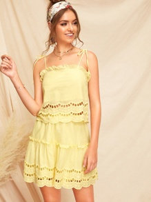 Knot Shoulder Eyelet Embroidered Cami Top & Skirt Set