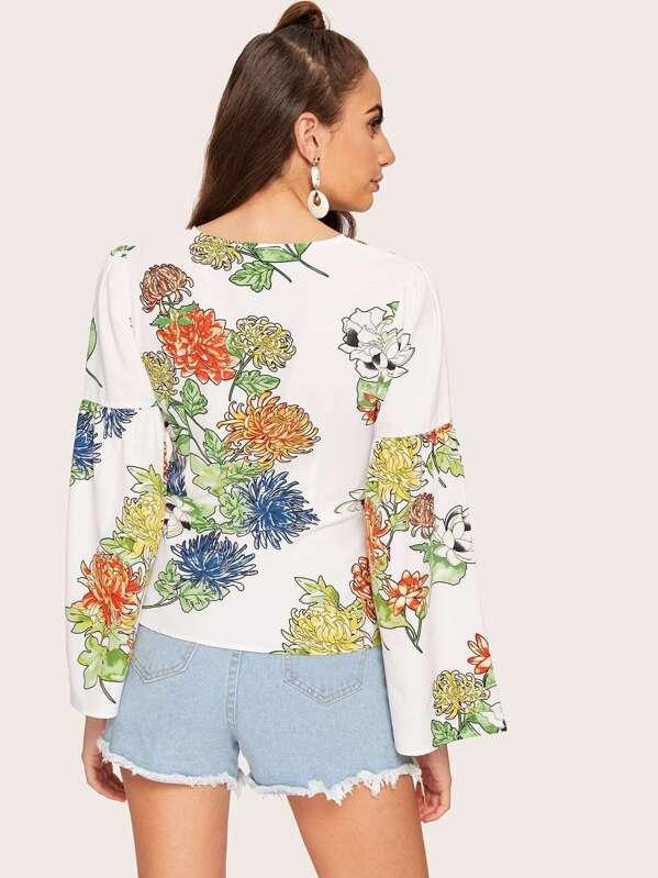 44504e03ac729 Tie Front Flounce Sleeve Flower Top