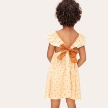 Toddler Girls Knot Back Polka Dot Dresses