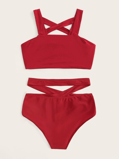 63e3e518ce Home · Swimwear · Bikinis; Criss Cross Top With Keyhole Bikini Set