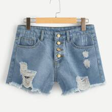Image of Light Wash Button Fly Distressed Denim Shorts