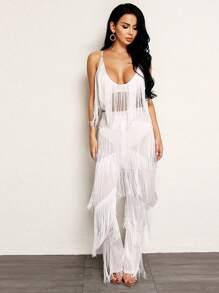 Joyfunear Plunging Neck Fringe Crop Top and Pants Set