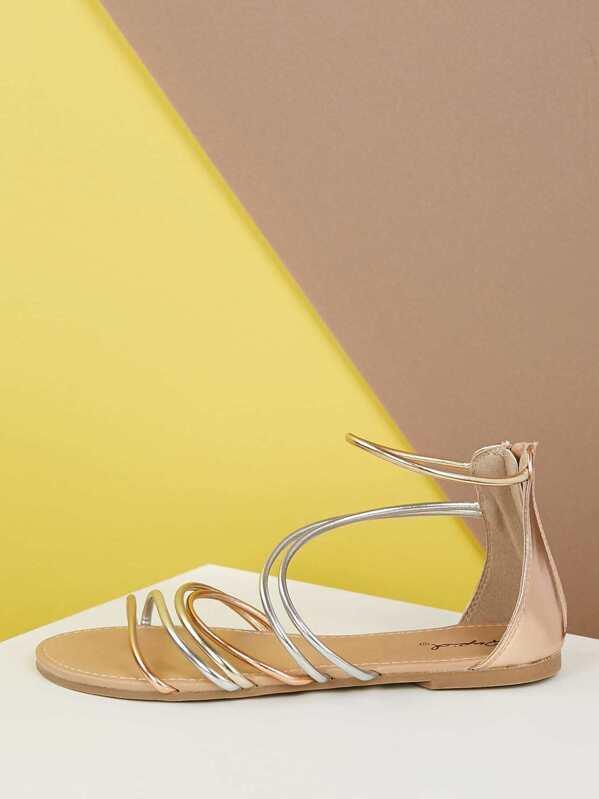 cf3ecb0cc Metallic Strappy Back Zip Flat Sandals | SHEIN