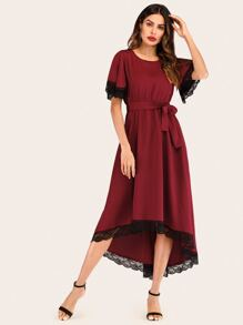 Contrast Lace Asymmetrical Hem Belted Dress