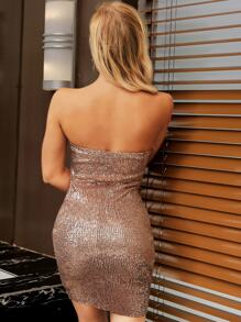 Joyfunear Form Fitting Sequin Bandeau Dress