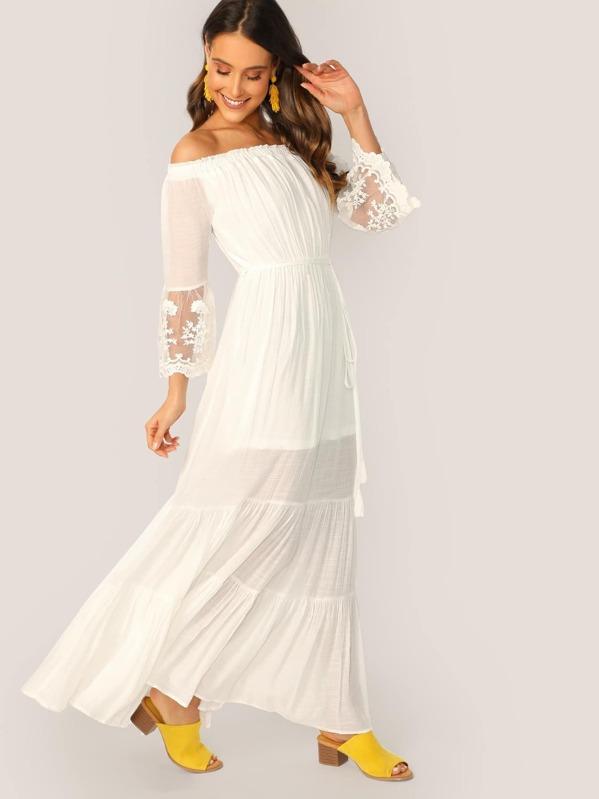 6a587afb3b Off Shoulder Embroidered Gauze Shirred Maxi Dress | SHEIN