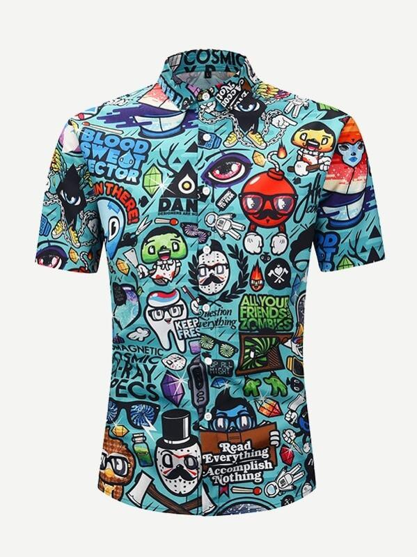 72409007e Blusa de hombres con estampado de dibujos animados | SHEIN ES
