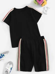 Toddler Boys Side Striped Tape Tee With Shorts