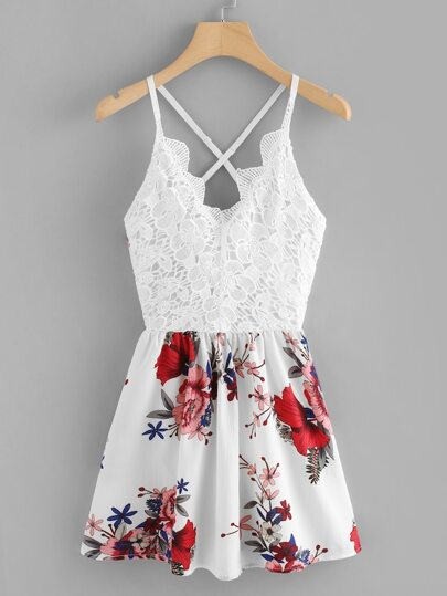 Plus Criss Cross Floral Print Cami Dress