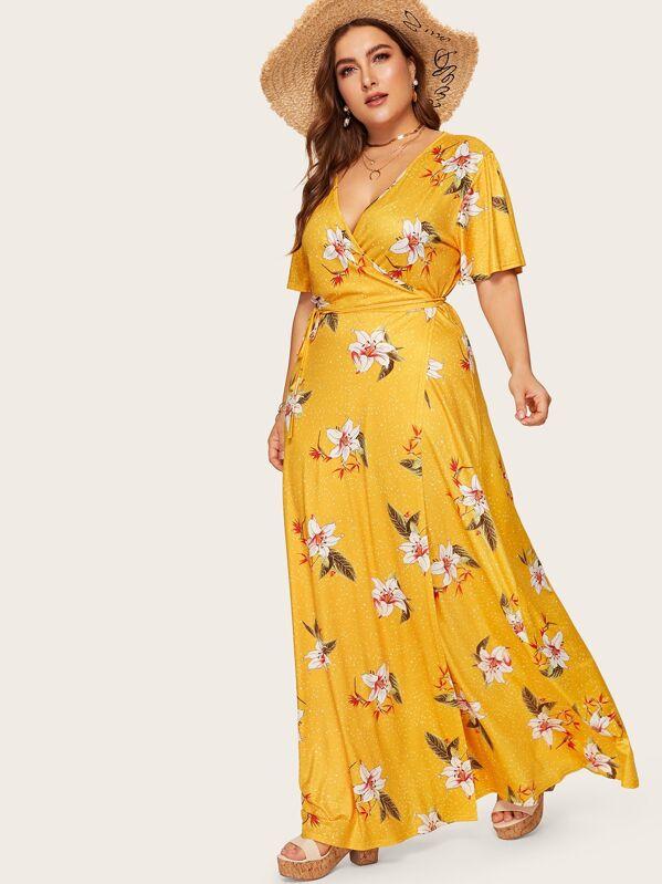 3bda5a0e28 Cheap Plus Floral Print Wrap Tie Side Maxi Dress for sale Australia | SHEIN