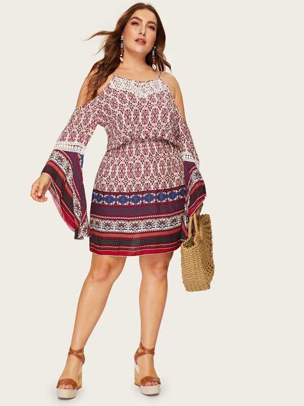Plus Tribal Print Cold Shoulder Dress