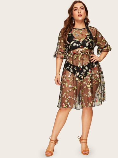 bf606044e50 Plus Floral Embroidered Sheer Dress
