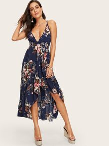 Floral Print Criss Cross Backless Ruffle Hem Cami Dress