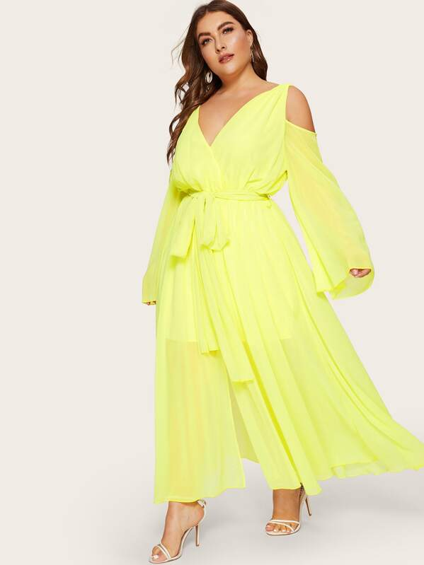 Plus Cold Shoulder Surplice Front Belted Neon Yellow Dress | SHEIN