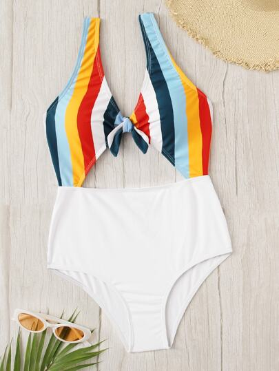 475adf05f1fa0 ... Striped Cut-out Knot Front One Piece Swim