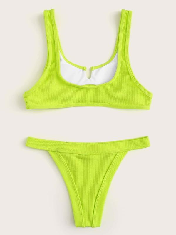 5faeaab6fe Neon Lime Cut-out Front Top With Tanga Bikini Set   SHEIN