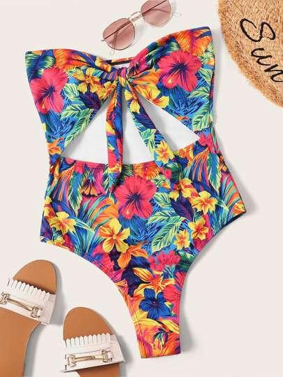f75c70e1a7 Random Flower Print Cut-out Tie Front One Piece Swim
