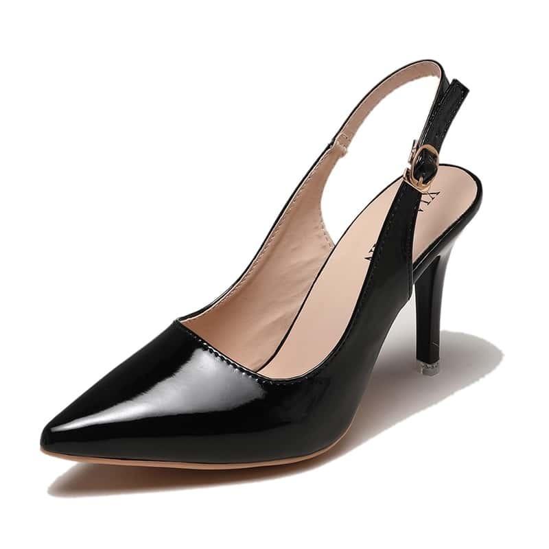 Чёрный пряжка одноцветный деловый стиль  каблуки