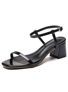 Two Part Ankle Strap Block Heeled Sandals