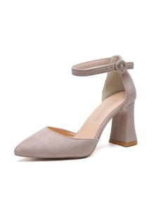 Pointed Toe Suede Chunky Heels