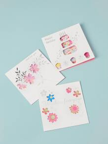 Flower Print Hollow Greeting Card 3sheets