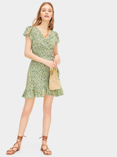 9ae2aa3ba94b Home · Clothing · Dresses; Ditsy Floral Self Tie Ruffle Wrap Dress