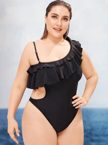 Plus One Shoulder Flounce Cut-out One Piece Swimwear