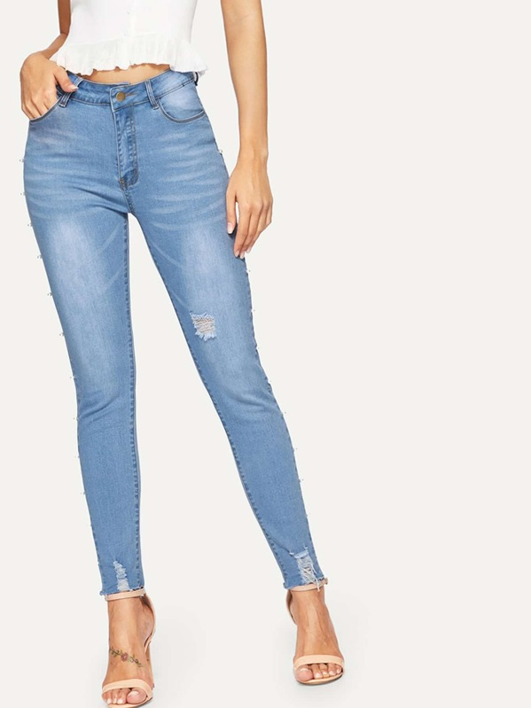 569e57e5f89 Cheap Faux Pearl Beaded Raw Hem Ripped Jeans for sale Australia | SHEIN