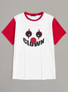 Men Clown Print Contrast Sleeve Tee