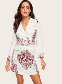 Double Breasted Tribal Print Jacquard Blazer Dress