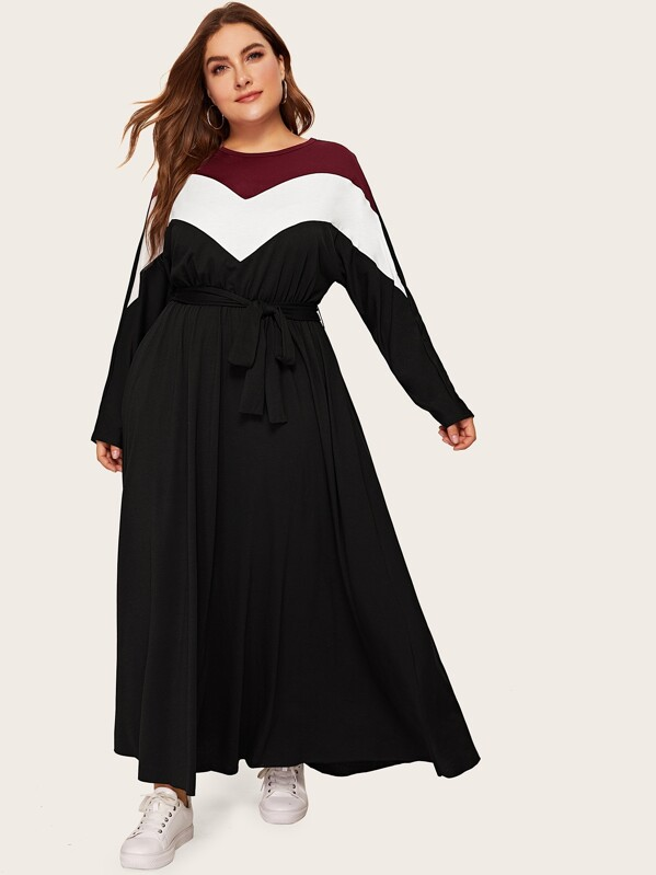 Plus Color Block Chevron Belted Jersey Dress | SHEIN