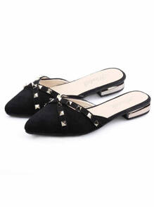 Pointed Toe Studded Decor Flat Mules