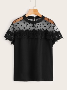 Plus Contrast Mesh Hollow Out Crochet Blouse