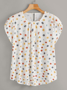 Plus Button Keyhole Back Calico Blouse