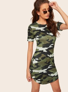 Camouflage Print Curved Hem Skinny Dress