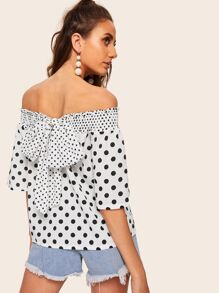 Polka Dot Tie Back Shirred Top