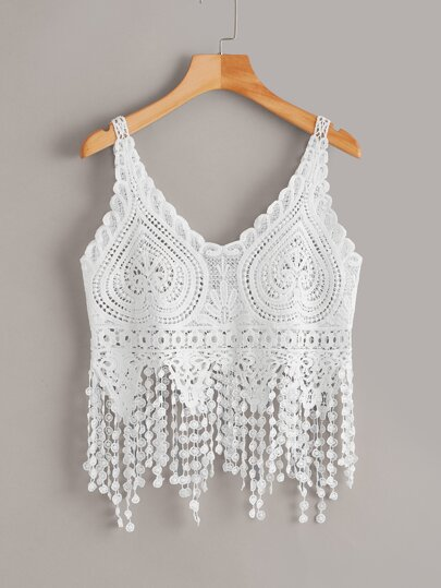 Crochet Sheer Fringe Hem Top
