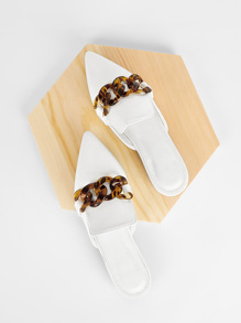 Tortoiseshell Decor Point Toe Flat Mules