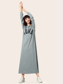 Cold Shoulder Letter Print Longline Dress
