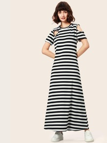 Striped Cold Shoulder Longline Dress