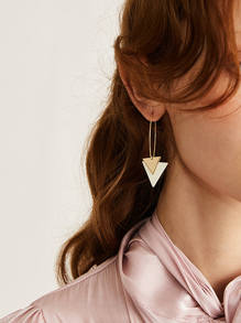 Double Triangle Drop Earrings 1pair