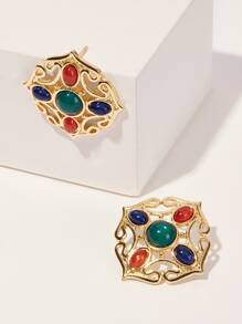 Color-block Gemstone Detail Hollow Stud Earrings 1pair