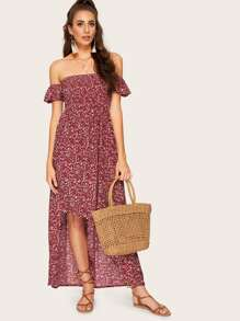 Calico Print Off The Shoulder Dip Hem Dress