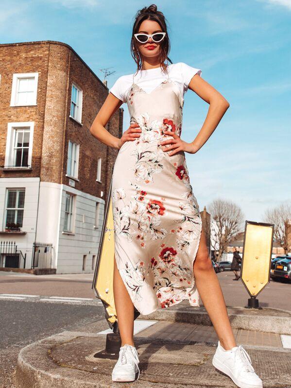 Crisscross Draped Back Split Side Floral Satin Dress by Shein
