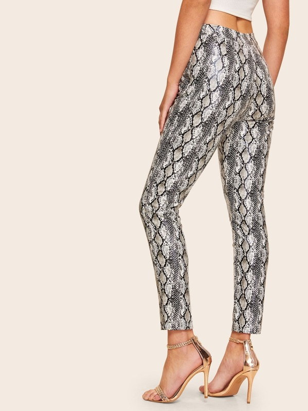 ccc5256cee Snakeskin Zipper Detail Faux Leather Pants | SHEIN