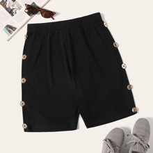 Plus Button Detail Solid Shorts