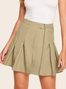 D-ring Belted Pleated Skirt